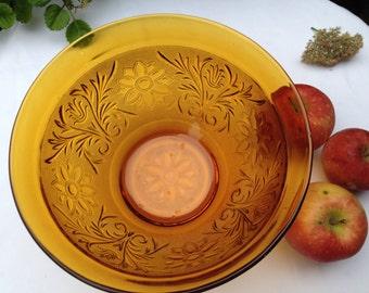 Vintage Amber Indiana Glass Serving Bowl