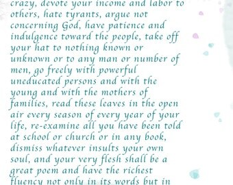 Walt Whitman Quote Print