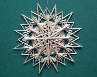 Christmas Tree Decoration - Handmade German Straw Star Ornament – Design 9