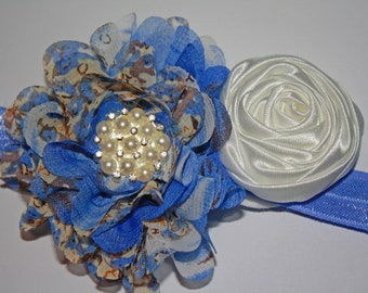 Vintage Periwinkle Chiffon and Silk Flower Headband 13.5 inches