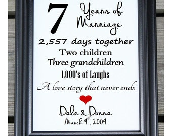7th anniversary gift cotton print 7th wedding gift 7 years together 7 years