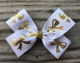 Gold and White Bow
