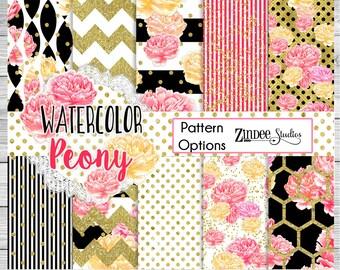 Gold and Pink floral Pattern Vinyl HEAT TRANSFER or ADHESIVE, Printed Vinyl Printed HTv