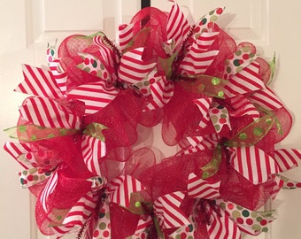 Christmas Wreath, Winter Wearth, Deco Mesh Wreath