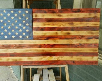 Charred American Flag w/color