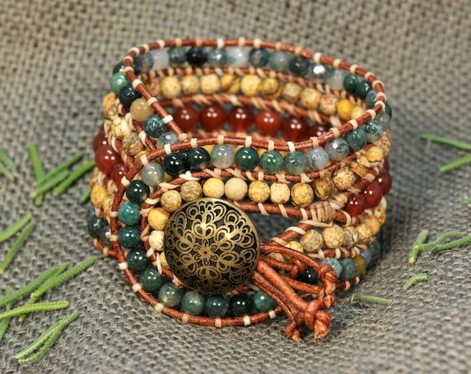 Astarti * 5 strand Statement Wrap Bracelet. Boho Style. Bohemian Jewelry. Semiprecious stones. Gift for her. Unique Design.