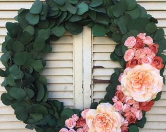 Eucalyptus wreath, Eucalyptus floral wreath, Floral wreath, Seasonal wreath, Everyday wreath, Indoor wreath