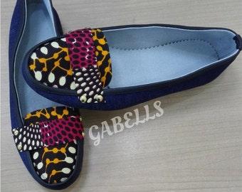 Denim/Ankara flat shoe