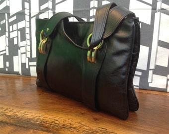 70s leather Bag | Vintage Handbag | 70s Handbag | Black leather Bag