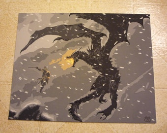 Alduin and the Dragonborn Painting