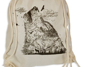 Wolf Mountain - Gymsac gym bags - tote bag hipster sport bag backpack bag wolves mountains mountain climbers