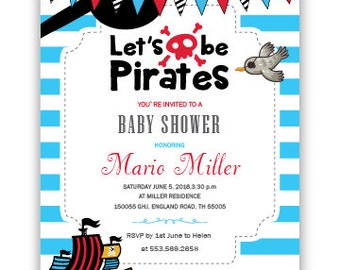 Pirate Baby Shower Invitation Etsy, Baby Shower Invitations