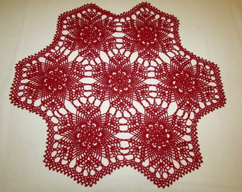 Red crochet doily, intricate doily, 22 inches