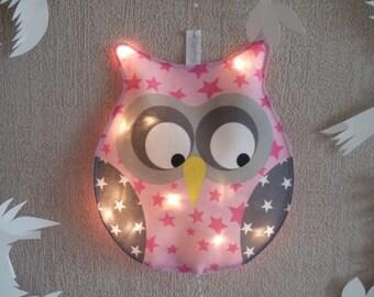 Little night light pink OWL