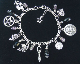 Wiccan 8 Virtues Charm Bracelet with Amethyst & Black Glass Crystals. Wicca. Witchcraft, Goddess, Pentacle, Pagan Path,