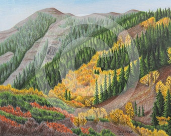 Autumn Hillside-Original Drawing