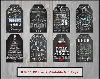 Printable Chalkboard Christmas Tags Instant Download DIY Holiday Labels Blackboard Christmas Tags Christmas Gift Tags DIY