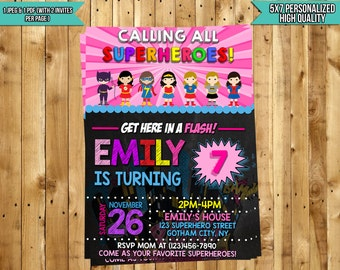 Girl Superhero Invitation, Superhero Invitation Girl, Girls Superhero Invite, Girl Superhero Party, Girls Birthday Invitation, Supergirl