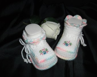 knitted baby shoes, baby shoes, baby socks, Babybooties * romance *.