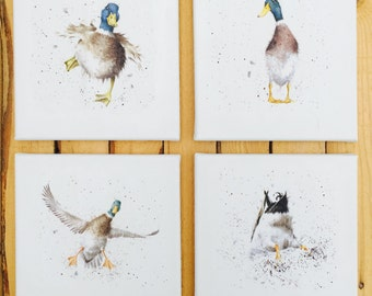 Handmade Canvas Pictures Set of 4 Duck Waddle and Quack