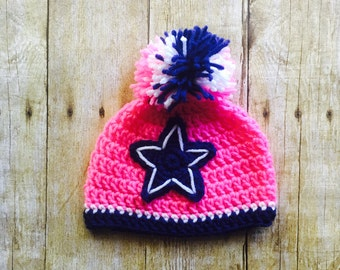 Pink Dallas Cowboy Hat, Crochet Baby Hat, Dallas Cowboys, Baby Girl Hat, Team Hat, Baby Shower Gift, Handmade Crochet, Photography Prop