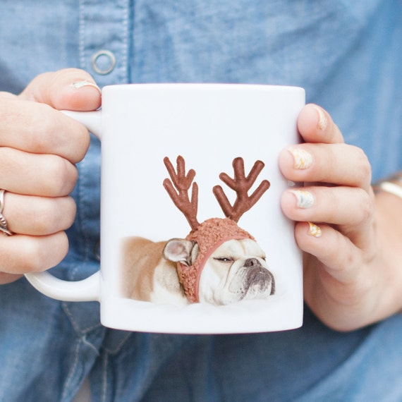 Grumpy Reindeer Bulldog Mug - Grinch Christmas Mug, English Bulldog Gift, Funny Christmas Mug, Cute Holiday Coffee Gift, Dog Lover Gift