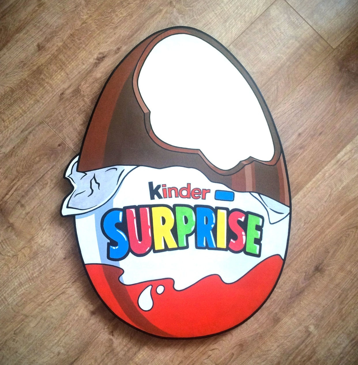 Giant Kinder Surprise wooden wall plaque