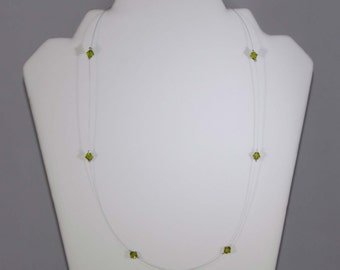Green Crystal Illusion Necklace (Single Strand)