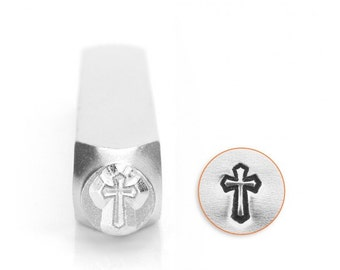 Spiritual Metal Stamps, Cross Outline Design Stamp, 6mm Jewelry & Craft