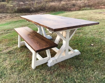 farmhouse table dining table solid wood table turned leg. Black Bedroom Furniture Sets. Home Design Ideas