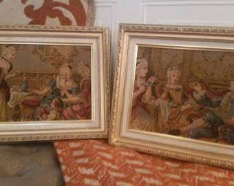 Pair of framed Victorian Tapestries