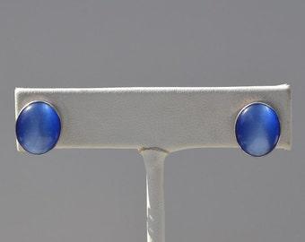 Blue Cats Eye Earrings, Sterling Silver, Blue Stone Earrings, Blue Cabochons