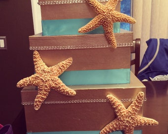 Starfish and Tiffany's Blue Wedding Card Box