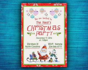 Christmas Party Invitation-Christmas Invitation-Santa Invitation-Christmas Dinner Invitation-Holiday Card-Holiday Party Invite