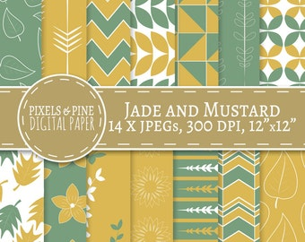 Jade and Mustard Floral Digital Paper, 14 JPG Personal and Commercial Use Floral digital patterns, scrapbooking, jade green, mustard yellow