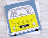 Baby dubber - new baby, classic campervan greetings card
