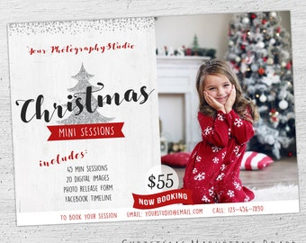Christmas Mini Session Template, Christmas Mini Template, Holiday Mini Session Template, Chrstmas Marketing, Photoshop Template, Photography