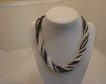 Vintage Multi-Strand Pearl Necklace with Gold Clasp