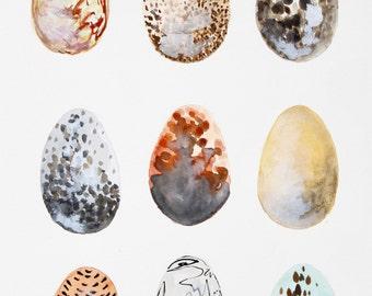 Amber Eggs Original Watercolor Painting // Original Art