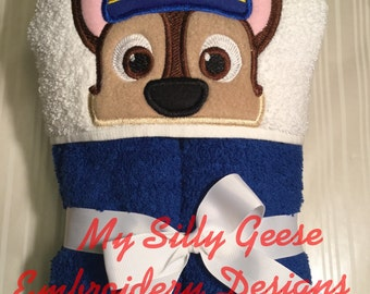 DIGITAL FILE 5x7 Chase Paw Patrol inspired cop pup dog Peeker hooded towel digital file embroidery design hoodie towel topper bow holder
