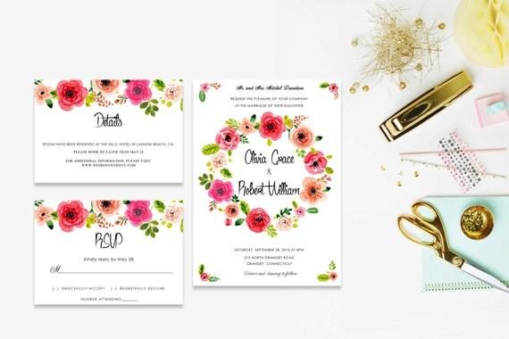 Floral wedding invite word_30,INSTANT DOWNLOAD, Editable Wedding template invitation. Microsoft Word template.Wedding Printable