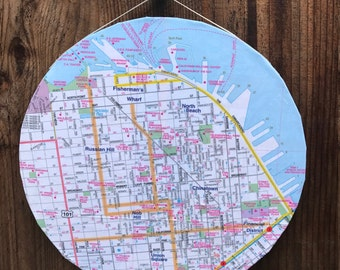 San Francisco, Fisherman's Wharf, North Beach, Chinatown, Russian Hill, Nob Hill, Union Square, Financial District - 8in Circular Map