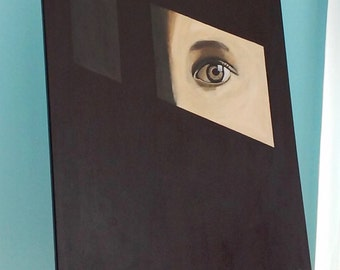 Dark painting with mysterious eye