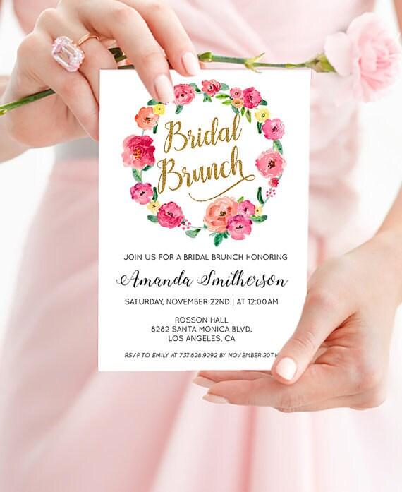 Printable Bridal Shower Brunch Invitation - Floral Shower Invitation - Boho Wedding Invitation - PDF Instant Download WDH0081