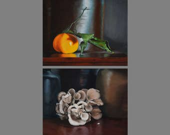 Pair of Still Life Vegetable giclee from original oil paintings on canvas, Realism