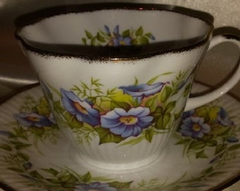 Royal Minster cup and saucer, blue flowers, bone china, vintage, England,