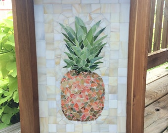 mosaic glass pineapple in wooden tray