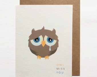Owl Miss You Greetings Card