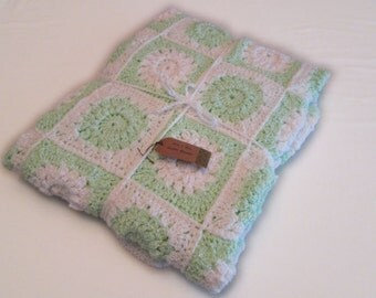 Green and White Granny Square Baby Blanket