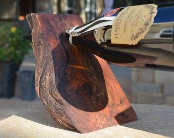 Balancing wine bottle holder - Mesquite with natural edge